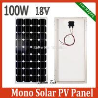 New 100W 18V monocrystalline silicon Solar Panel for 12V solar power system, 100Watt 12VDC PV mono solar Module,Free Shipping