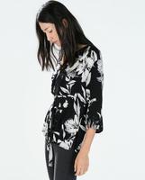 2014 autumn and winter new European and American retro cotton print kimono-style casual women blouse,WB0439