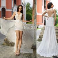 Unique A-line Sleeveless Plunge V-neck High Slit Backless Sexy Wedding Dress Vestidos De Noivas 2014 Sexy