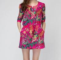elegant new fashion ladies silk casual beach dresses ,designer summer printing half sleeves dress 25F67