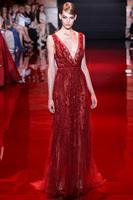 Red vestido de festa de casamento longo luxo evening gowns with beads and crystals plus size beaded formal evening dresses 2014