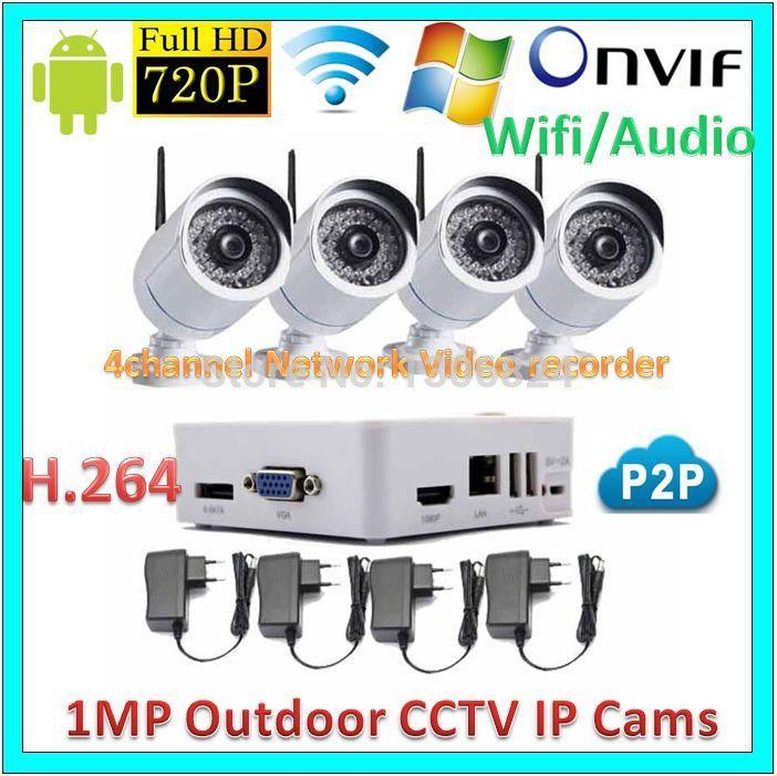 Surveillance kit 720p wifi p2p Security Camera CCTV Audio Wireless 1.0MegaPixel Network Security Camera System Outdoor Webcam(China (Mainland))