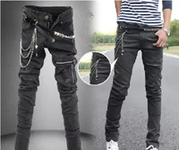 Rock Punk Water Washed Black Denim Jeans Stretchy Solid Design Tight Stretch Pants Feet Korea Leisure Casual Trousers  Calcas