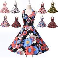 Cute Girl Women Causal Flower Print Rockabilly Swing Dress 50s Vintage Dress Plus Size Pinup Dress Retro Prom Party Dress CL6075