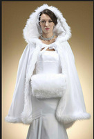 Elegant Feather Faux Fur White Cloak With Hat Bridal Shawl Wrap Christmas Wedding Accessory Jacket