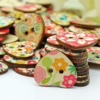 Wholesale 100 Pcs Mixed Printed Flower Heart Shape Wooden Sewing Buttons Scrapbooking DIY