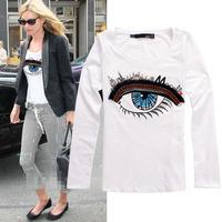 2014 autumn big eye print long sleeve cotton t shirt women 3colors S,M,L,XL