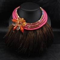 Aliexpress Wholesale Jewelry Fashion Brand Jewelry Vintage Rainbow Feather Flower Collar Necklace Statement Necklace