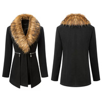 Winter Outwear 2014Hot Sale Casual Long Sleeve Coat high-end single-breasted wool coat fur collar WF-8404
