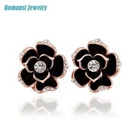 New Fashion Jewelry E721 Multi-Colored Gem-set Flower Earrings Wholesale! For Women Free Shipping