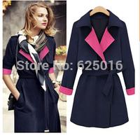 2014 winter long wool coat and jacket  women  fashion zipper plus size wool overcoat  parkas  women fashion trench woolen coat