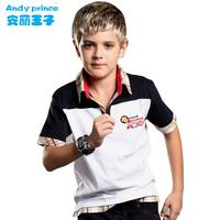 2014  boy 100% short-sleeve cotton child shirt summer