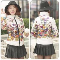 New 2014 Trendy Winter Wear Print Floral Fashion Women Short Down Cotton Parkas Coats L-XXXL Plus Size ,J450