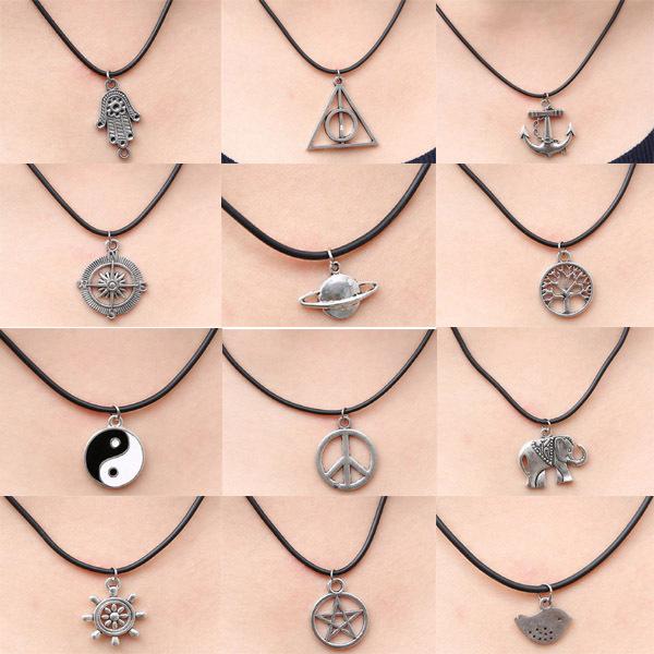 New Tibetan Silver Hamsa Hand Peace Anchor Pendant Necklace Choker Charm Black Leather Cord Factory Handmade