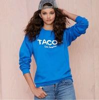 XS-XXL 2014 New Sweatshirt Of Women Fashion BF Tacos Loose Letter Print Jersey Rib Knitting O-neck Pullover Sweatshirt