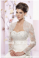 Elegant Long Sleeve See Through Transparent White Lace Bridal Shawl Wrap Wedding Accessory Jacket 2015