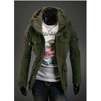 2014 Hot Sale Fashion Plus Size Three Color Men Casual Personalized Double Collar Jacket Slim Fit Zipper Leisure Coat