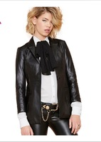 XS-XXL 2014 New Leather Of Women Fashion BF Slim Placketing PU Suit Jacket  Faux Leather Suit  Clothing
