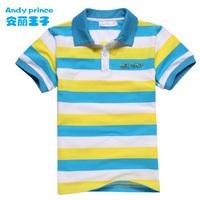 2014 summer cotton child 100%  boy short-sleeve children's clothing stripe  shirt