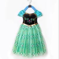 Flying Frozen Princess Ball Gown Anna Adventure Cosplay Girls Dress Skirt Princess  5PCS  100CM-140CM