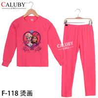 New Year sports kids sets Winter Christmas 8T- 12T child 2 piece suit Pyjamas Printed GIRL sets rose red Elsa frozen pyjamas
