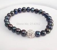 free shipping 8-9mm black freshwater pearl elastic bracelet & Crystal Ball Z17#