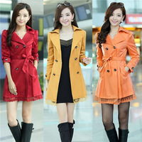 Hot Selling 2014 New Fashion Popular Women Ladies Trech Slim Double Breasted Lace Long Coat Jacket Overcoat 5Colors cx656978