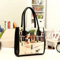 New purses Korean women bag fashion casual trend of PU spraying graffiti handbag shoulder bags printing bag