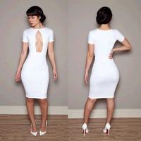 wholesale bandage dress short sleeve cutout bodycon sheath nightclubs club dresses  S M L Dropship RYT462