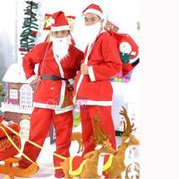 Merry Christmas Costume Santa Claus Party Happy Adult Hat Cap White Rim Headgear Clothes Set