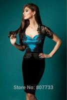 W306 Fabulous black lace velvet mother of the bride evening dresses short sleeves