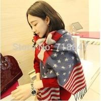 European style flag stripes fringed scarf winter new thick women scarf shawl SC0345