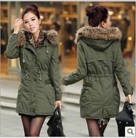 2014 Hot sale Korean Winter Thicker Slim Padded Jacket Coat Long Section Hooded+fur collar Parka Women Army Green YNY1319