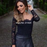 2014 fashion long-sleeve lace basic shirt
