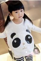 Free shipping! 1pcs/lot baby boys cartoon panda T-shirts cotton long sleeves T-shirts kids sweatershirts
