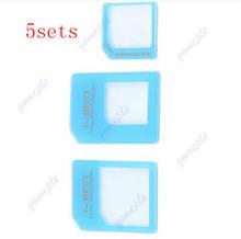 U95-5set/lot New 3 Adapters Nano SIM to Micro SIM / Standard SIM Card Adaptors for iPhone 4 5