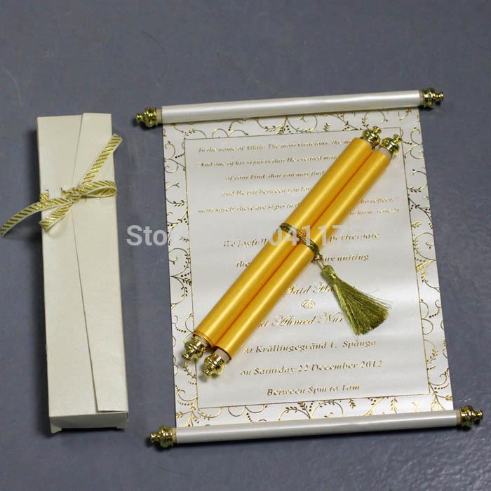 Luxo do rolo do ouro em caixa caixa de convite de casamento com pérola buckle 100 pçs/lote(China (Mainland))