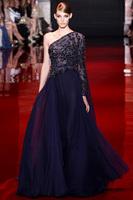 New arrival Luxury crystal beaded formal evening dresses 2014 Dark blue long sleeve evening gowns vestido de festa 2014 Sexy