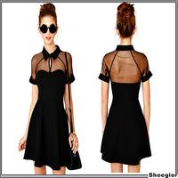 New 2014 Summer Fashion Lace Dress Gauze Patchwork Chiffon Sexy Slim Dress Women Short Sleeve Black High Waist Casual Dresses