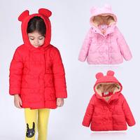 Female child cartoon embroidery berber fleece thickening wadded jacket child cotton-padded jacket winter