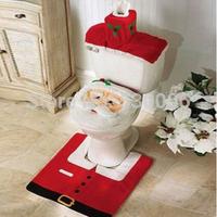 3pcs/set New Christmas Decorations Happy Xmas Santa Claus Bathroom Set Toilet Seat Cover&Rug&Tissue Box Cover Bathroom Set