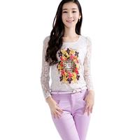 2014 Newest Autumn Long Sleeve Print Women Shirt Fashion Lace Hollow Out Plus Size Blusas Femininas 206
