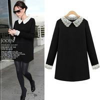 Fashion plus size clothing loose one-piece dress POLO collar mm basic