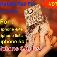 Diamond crystal real Rabbit Rex fur phone case for iphone 4 4s 5 5s 5c 6 plus leopard rhinestone shell nobal hair backcover