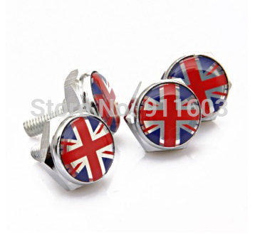4PCS Universal Fit Luxury Car Truck Metal Licence Plate Frame Fasteners Bolts Screws British Flag New(China (Mainland))