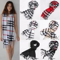 Classic British Grid Man Warm Autumn Winter Babage Tassel Cashmere Scarf Women Shawl Scarves#65914