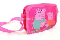 Free Shipping 132pcs Peppa Pig purse cartoon kids snack pack single shoulder satchel