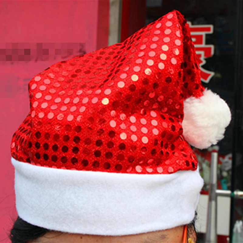 New Hot Sale Merry Christmas Party Santa Claus Hats Xmas Cap Shinning Paillette Red Christmas Hats Free Shipping(China (Mainland))