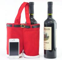 3 PCS /set Big Christmas Xmas Decorations Santa Pants Wine Bottle Organizer Holder Bags Gift Storage Handbag 14.5'' X 10''