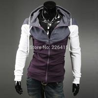 Free Shipping Mens Autumn And Winter Hoodies Patchwork Purple  Hoodies Men Slim Fit Cardigan Assassin Creed Hoodies M-XXL